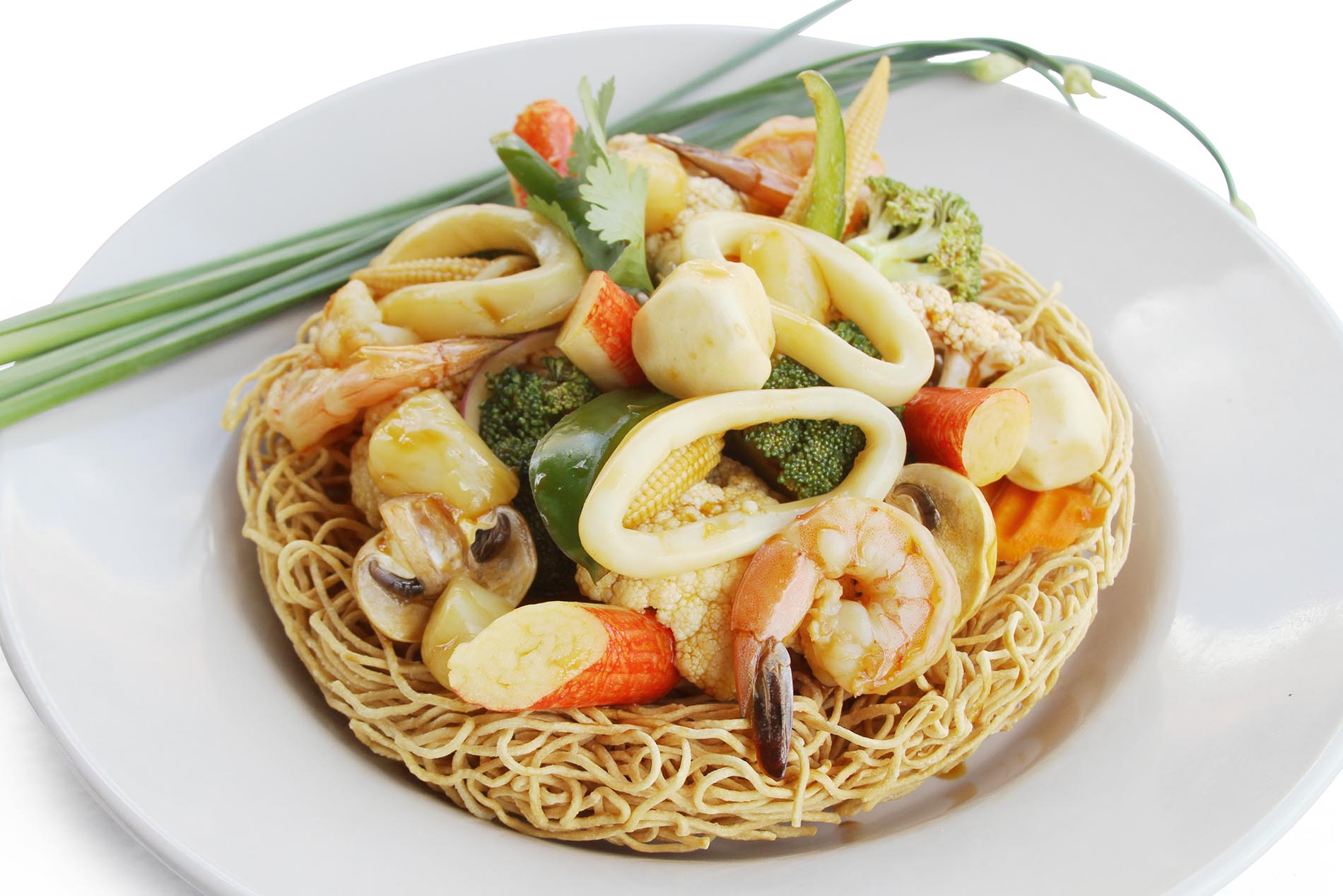Plate of Seafood Bird's Nest Noodle